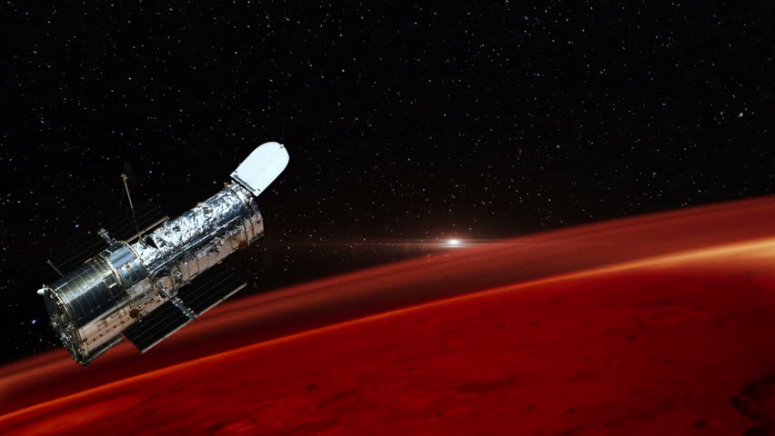 Hubble Space Telescope Passing Over Mars