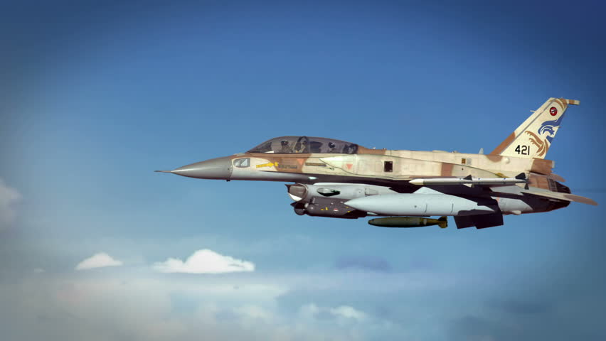 Israeli F-16 (IDF) launching missiles and smart bombs. With the threat of an impending Israeli strike on Iranian secret nuclear enrichment facilities looming.