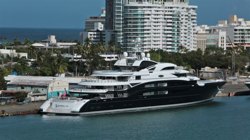 SAN JUAN, PUERTO RICO - JAN 2014: Luxury motor yacht Serene in harbor. Owned by Russian vodka tycoon Yuri Scheffler. $330 million registered in Cayman Island. 439 feet long, 24 passenger and 52 crew.