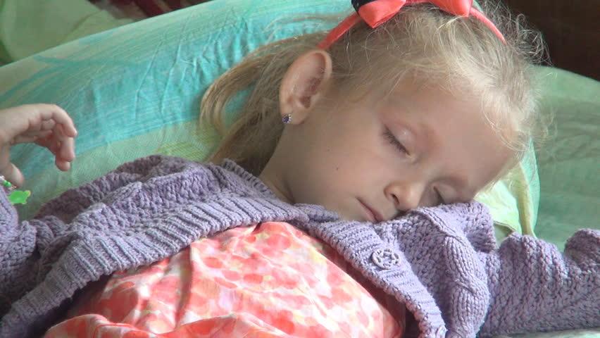 Wake Up Sleeping Child Sleepy Little Girl Resting In