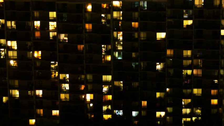 Time Lapse of Apartment Building at Night