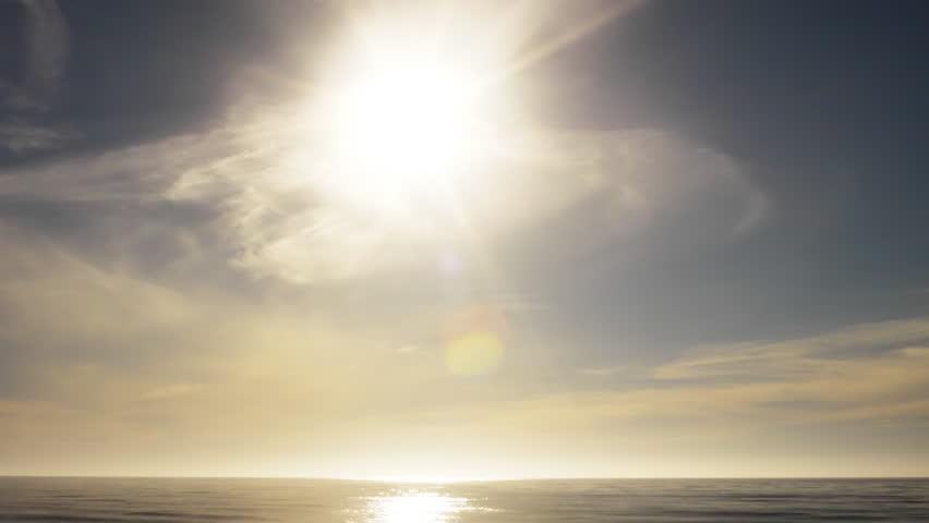 4K Time Lapse of Sunset at Pacific Ocean -Tilt Down-