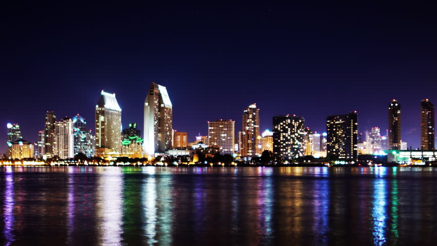 time lapse of san diego skyline night cityscape stock footage video 5769479 shutterstock. Black Bedroom Furniture Sets. Home Design Ideas