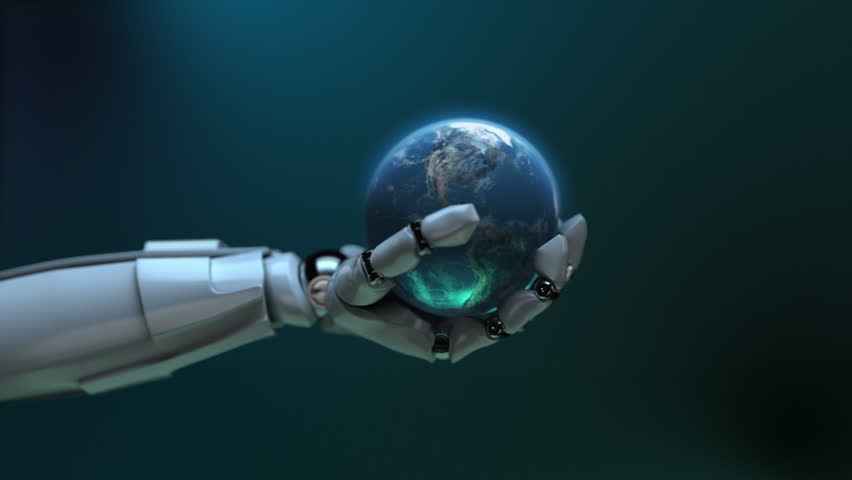 Animated robot hand tossing Earth globe. Seamless loop. Alpha channel. Depth of field. Left side.