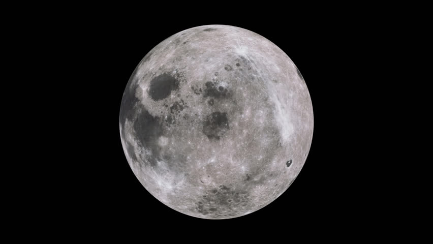 HD - A full moon - one minute rotate with matte (Loop).