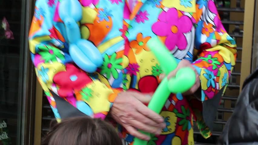 Balloon artist - HD stock footage clip