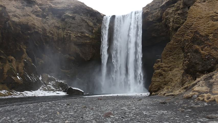 Skogafoss waterfall is one of the biggest waterfalls in Iceland with a width of 25 metres (82 feet) and a drop of 60 m (200 ft).