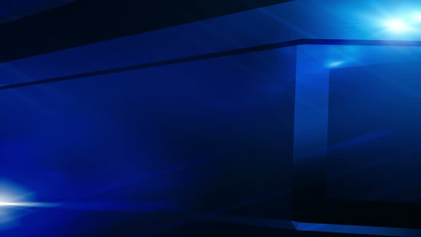 Breaking News Style Rotating Abstract  Shape with Lens Flares Abstract Dark Blue Background