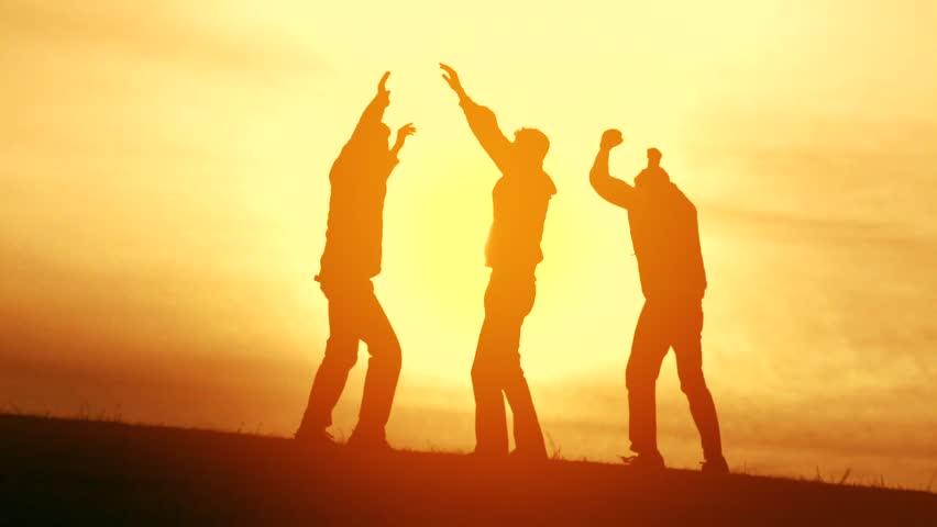 Team Victory Teamwork Guys Jumping Joy Congratulations Silhouette