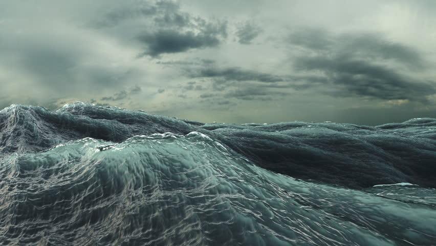 Rough Sea Loop 3D A loop of big waves in an agitated ocean. Camera goes underwater several times, 4k