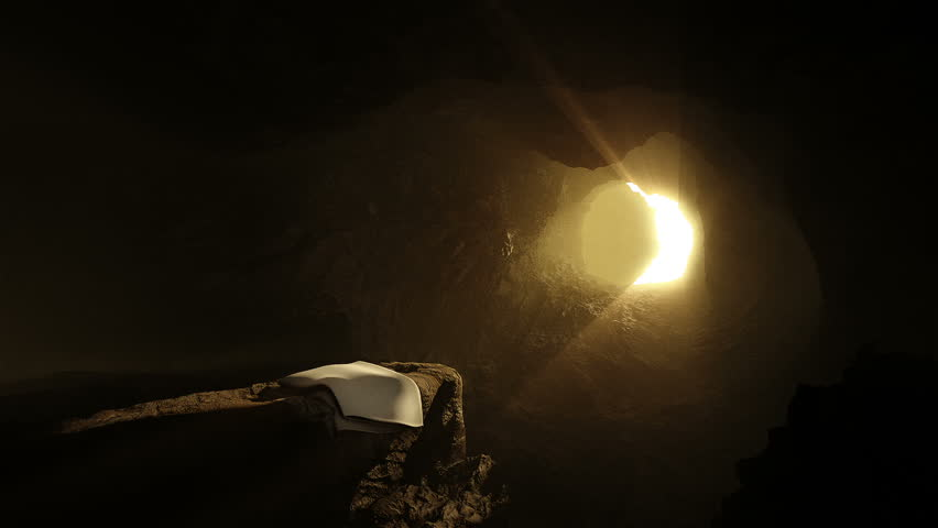 Empty Tomb of Jesus on Easter Morning.