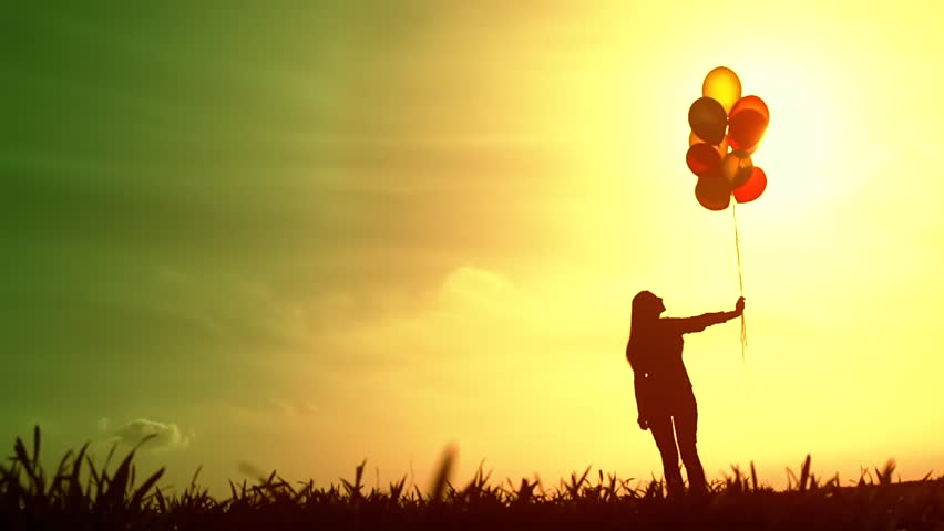 Bright Future Woman Silhouette Hope Concept Stock Footage