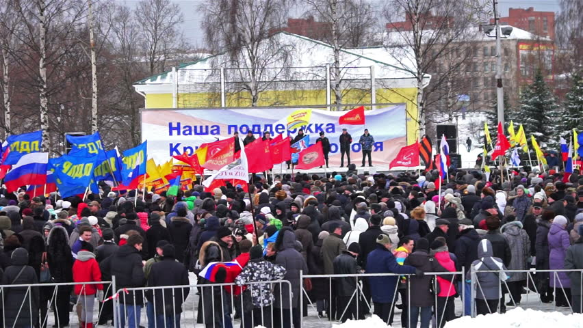 PETROZAVODSK, RUSSIA, MARCH 16, 2014: Russian people protest against war in Crimea and support democracy in Crimea. Today Crimea votes in referendum on whether to rejoin Russia or stay with Ukraine. - HD stock video clip