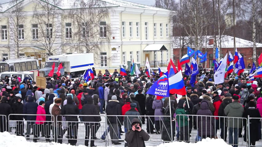 PETROZAVODSK, RUSSIA, MARCH 16, 2014: Russian people protest against war in Crimea and support democracy in Crimea. Today Crimea votes in referendum on whether to rejoin Russia or stay with Ukraine. - HD stock footage clip