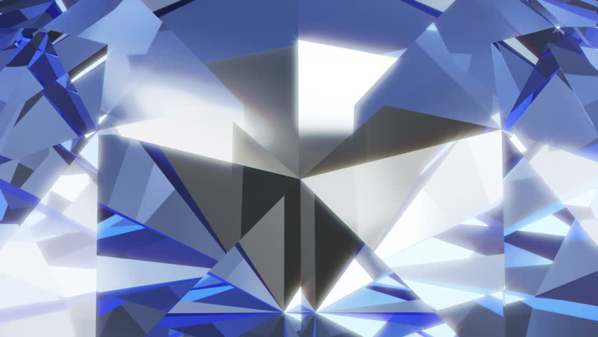 Macro Animation of Blue Diamond Rotation with Glowing Rays. Looping HQ Video Clip