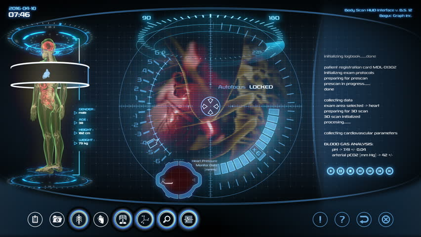 Futuristic heart scan. Holographic medical application interface.