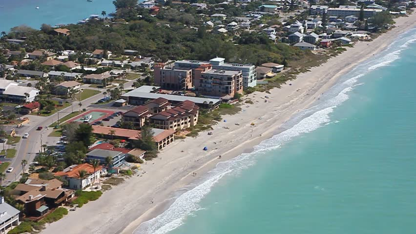 Helicopter View Down Manasota Beach, In Englewood, Florida ...