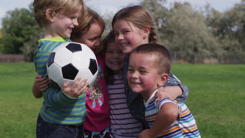 Little Children Playing Football At School - 4K Stock ...