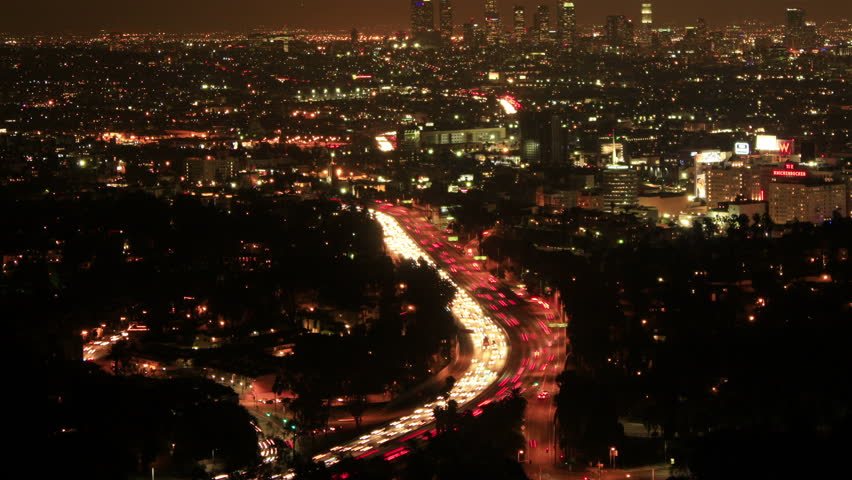 Los Angeles Night View 74 Timelapse Traffic Hollywood overlook