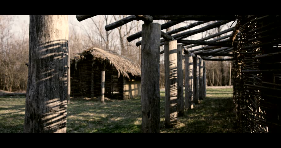 Very old houses on a farm made from a structure based on wooden and clay with thatched roof