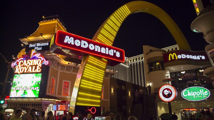 LAS VEGAS - MARCH 21, 2014: Fast-food workers from three states are suing McDonald's, for forcing workers to clock out but remain at work, docking pay to purchase uniforms and not paying overtime. - HD stock video clip