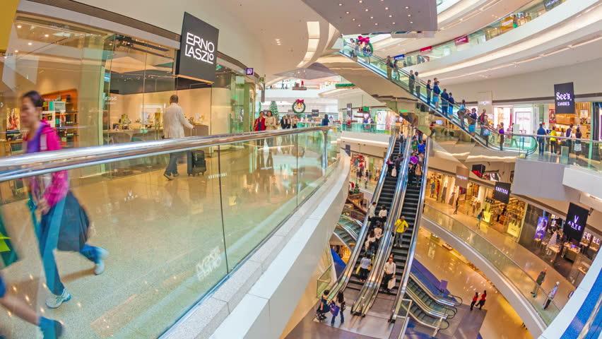 Hong Kong, China - Nov 15: 4k hyperlapse video of people shopping in the Festival Walk shopping mall in Hong Kong on November 15, 2013. Festival Walk is one of the biggest shopping mall in Hong Kong.