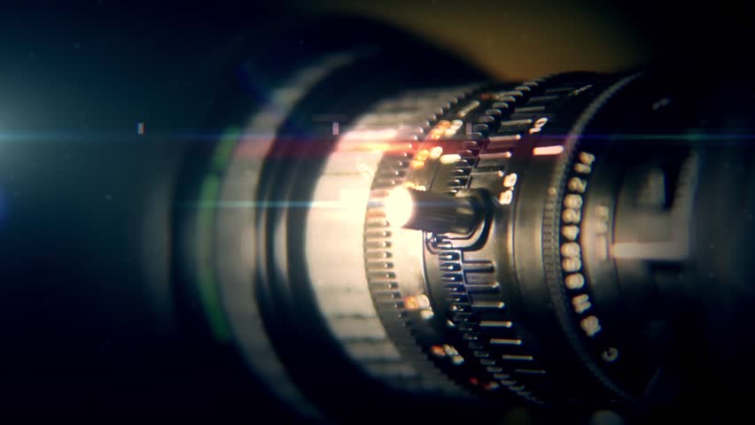 TV saver movement of the camera lens with highlights