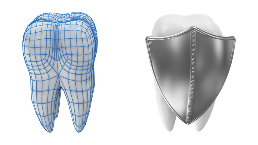 Animation of Tooth Rotation with Protection Grid and Metal Shield. Seamless Looping HQ Video Clip with Green Screen and Alpha Channel