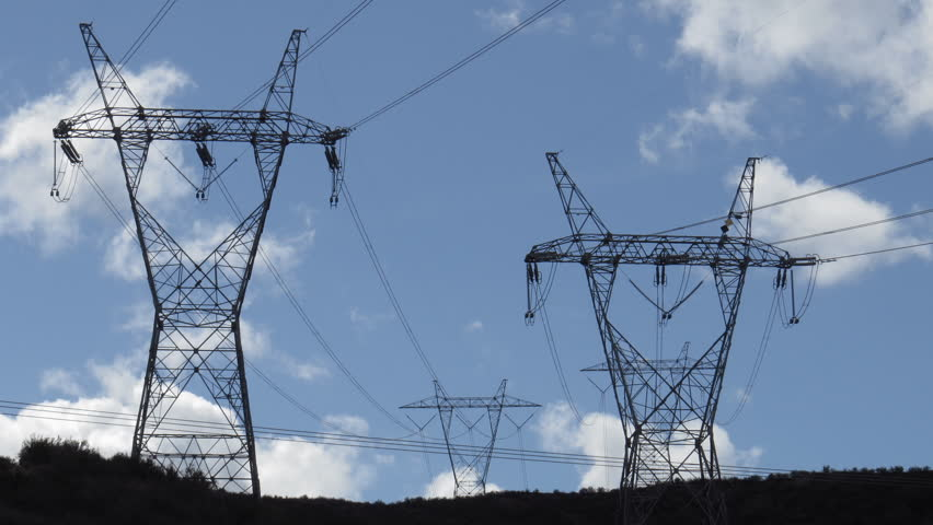 High Voltage Electrical Lines : Time lapse of high tension electrical power lines