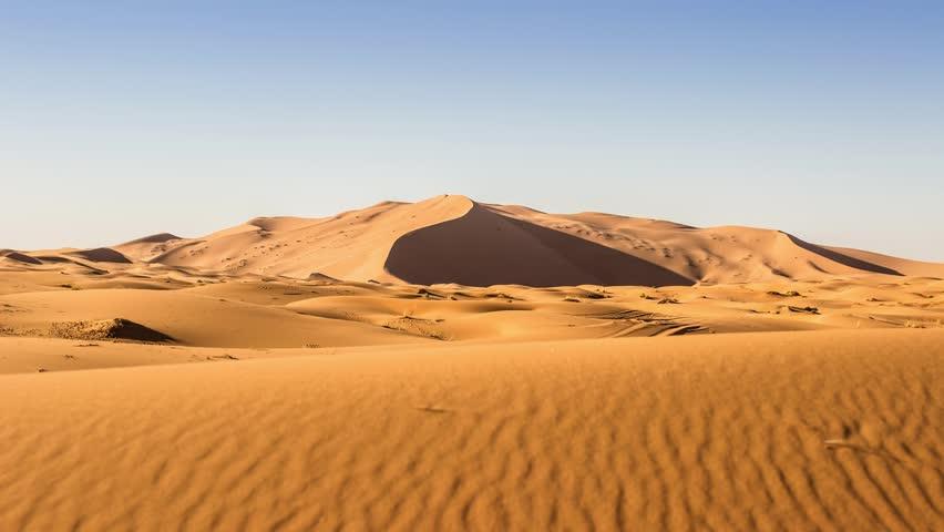 Sunset over the Sahara desert between Morocco and Algeria.