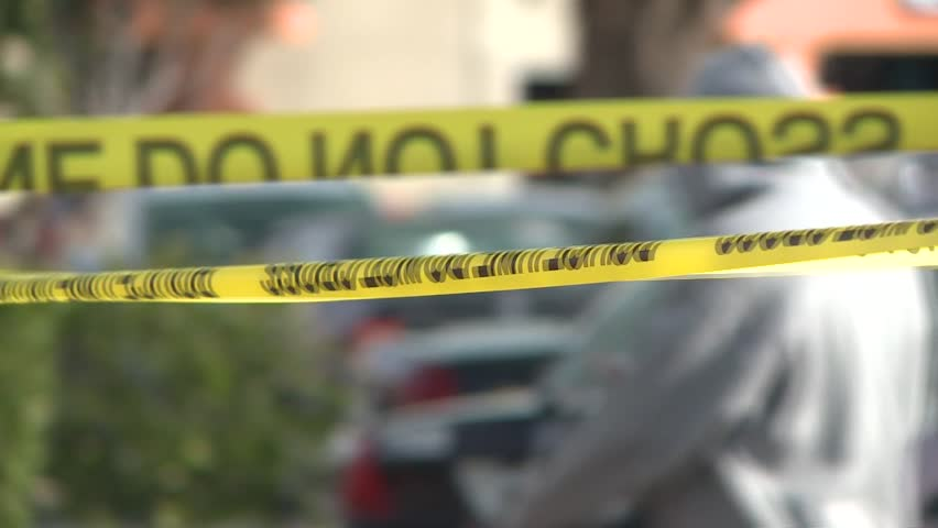 POLICE CSI CRIME SCENE WITH POLICE TAPE AND EVIDENCE MARKERS HIGH DEFINITION