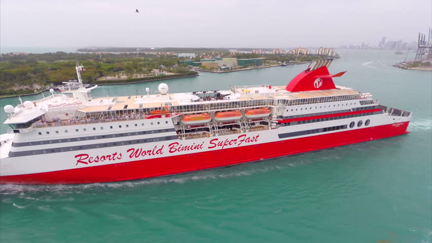 MIAMI - CIRCA 2014 Aerial video of the Resorts World Bimini Superfast - HD stock video clip