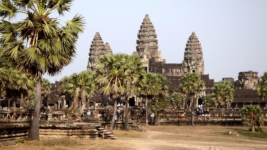 ancient temple, angkor wat, cambodia  - HD stock footage clip