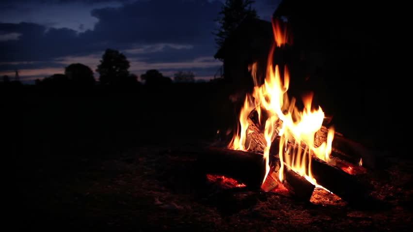 Campfire wide shot - HD stock video clip