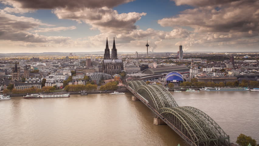GERMANY - CIRCA JUNE 2013: The Cathedral (Dom) and River Rhine, Cologne (Koln), North Rhine Westphalia, (Nordrhein-Westfalen), Germany, Europe | Shutterstock HD Video #6051860