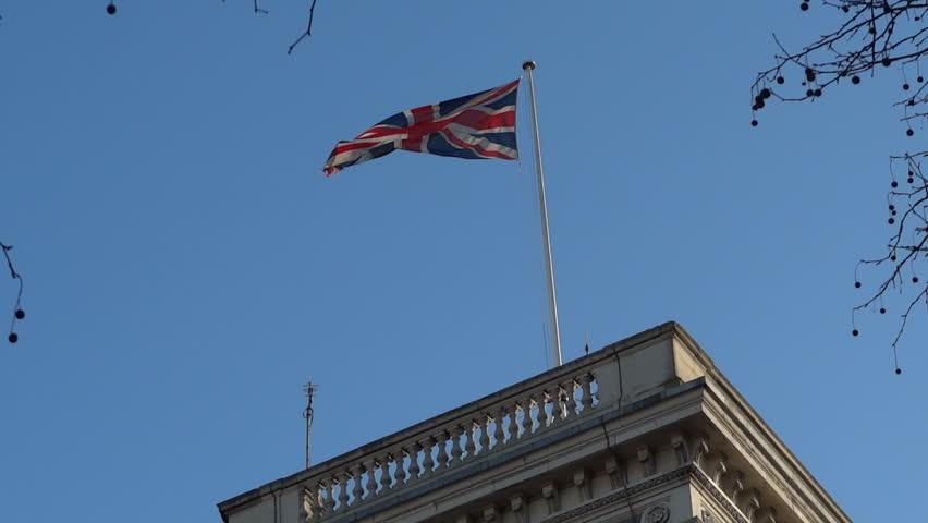 British flag waving in London, UK - HD stock video clip