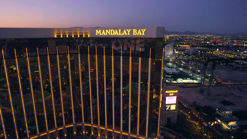 LAS VEGAS, NEVADA, CIRCA 2013 - Aerial view of the Mandalay Bay resort in Las Vegas, Nevada. - HD stock video clip