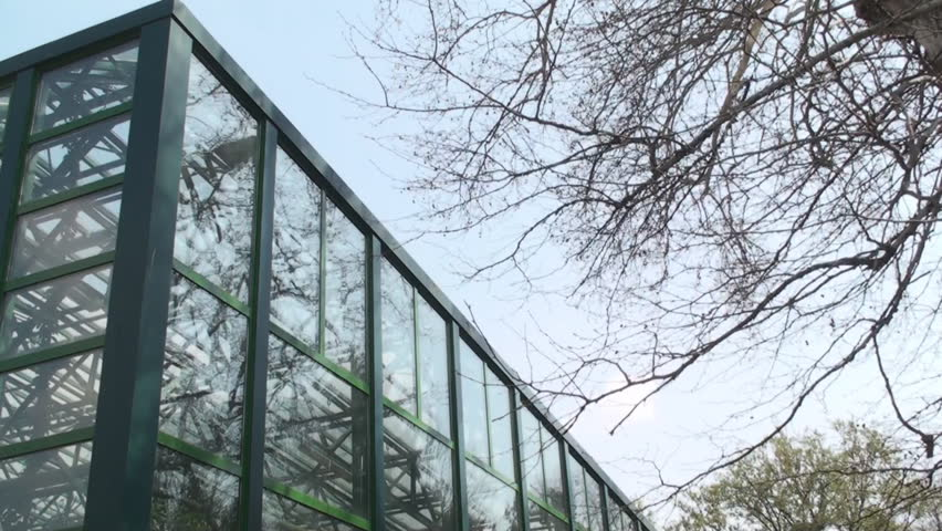 New And Modern Green House Plants, Life, Eco, Pan Low Angle - HD stock footage clip