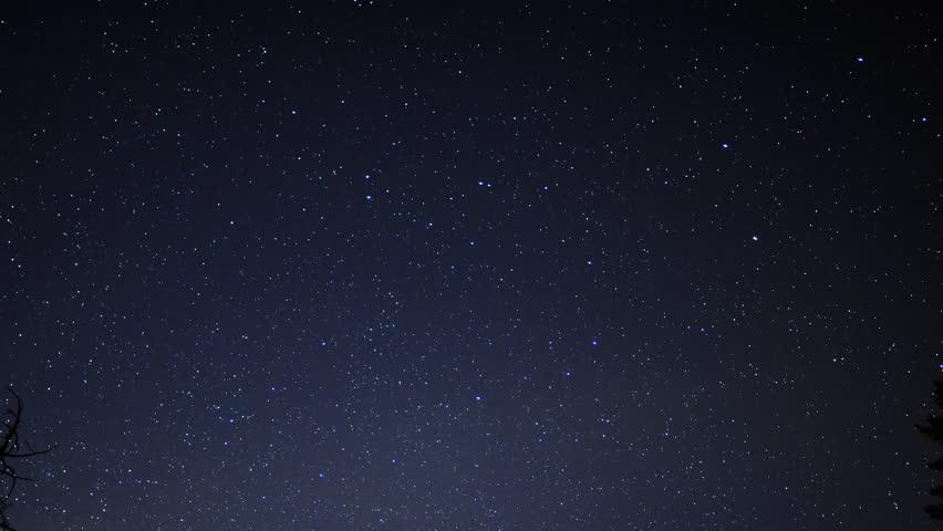 4K Time Lapse of Starry Sky over Alpine Forest -Sky Only-