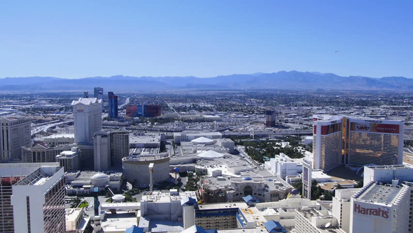 LAS VEGAS, NEVADA, Circa, April, 2014 - The view of the Las Vegas Strip from high above on The High Roller Ferris Wheel. - HD stock footage clip