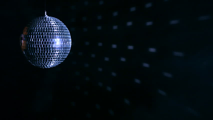 Rotating Disco Sphere In Blue Purple Black And White
