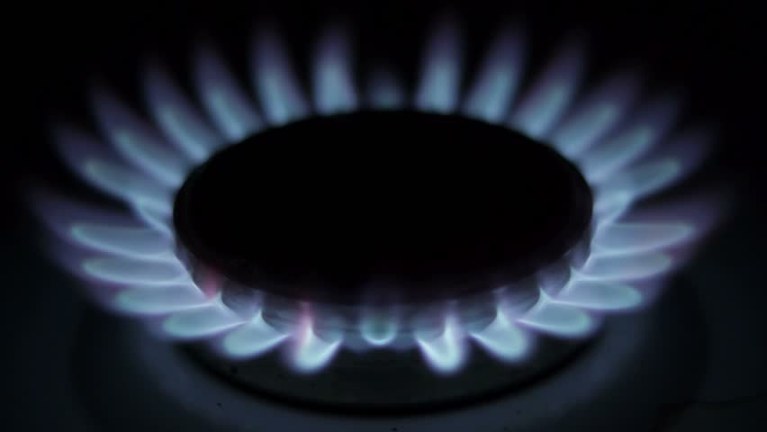 Unstable burning of natural gas in a gas stove  - HD stock video clip