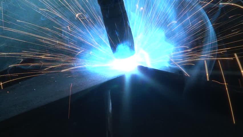 Detail of welding piece of metal  - HD stock video clip