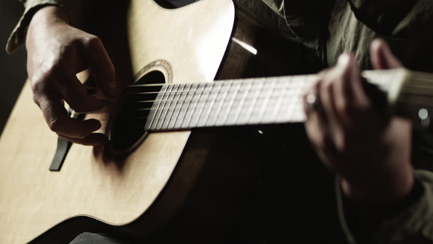 Close up of man playing Acoustic guitar  - HD stock footage clip