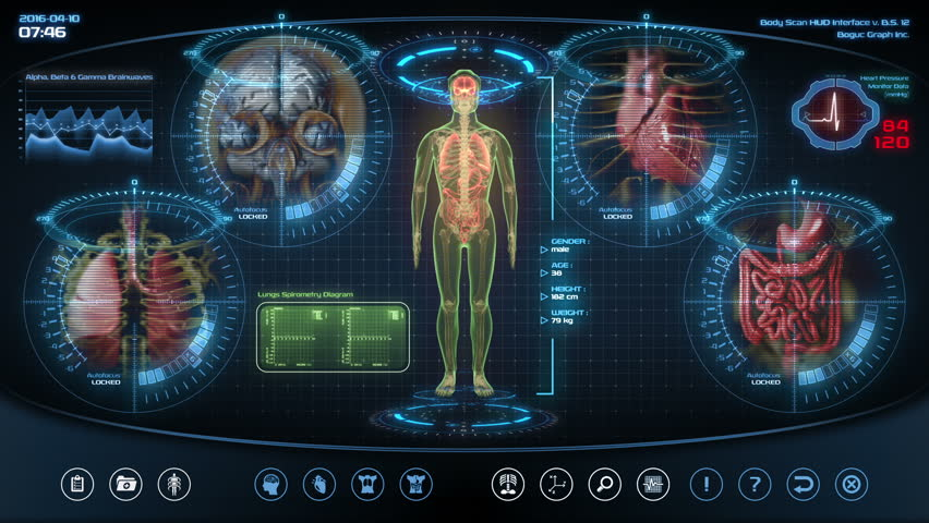 Futuristic human anatomy scan. Holographic medical application interface. Seamless loop. | Shutterstock HD Video #6087284