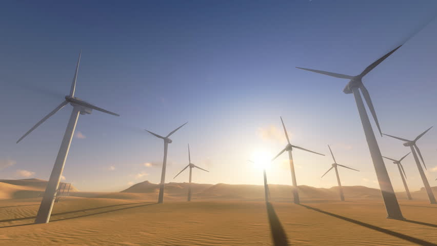 Wind turbines generating electricity. . Three dimensional rendering animation. - HD stock video clip