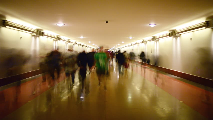 Time Lapse of Union Station Hallway with Commuters in Motion Blur
