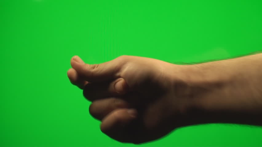 Hand Feeling The Rhythm Sign On A Green Screen, Chroma, Key, Sign, Gesture - HD stock footage clip