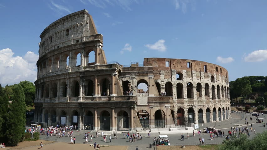 Colosseum, Rome, Italy. Roman Coliseum On Summer Day With