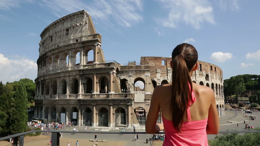 Italian Tourist: Travel Tourist Woman In Italy By Colosseum, Rome. Young